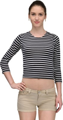 Trend18 Casual 3/4 Sleeve Striped Women's Black Top