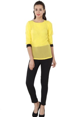 Western Route Casual 3/4 Sleeve Solid Women's Yellow Top