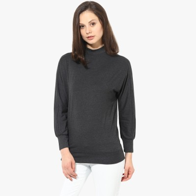 T-shirt Company Casual Full Sleeve Solid Women's Black Top