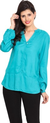 Nvl Casual Full Sleeve Solid Women's Blue Top