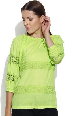 Shopaholic Casual 3/4 Sleeve Solid Women's Light Green Top