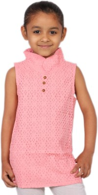 Kemrich Casual Sleeveless Printed Girl's Pink Top