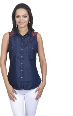 Coffee Bean Women's Solid Casual Denim Dark Blue Shirt