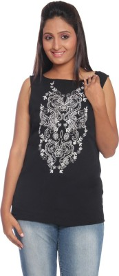 Park Avenue Formal Sleeveless Printed Women's Black Top