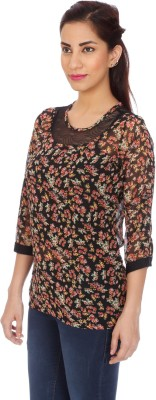Clodentity Party 3/4 Sleeve Printed Women's Multicolor Top