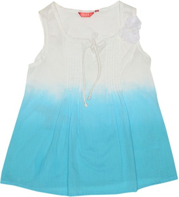 Elle Casual Sleeveless Solid Girl's Blue, White Top