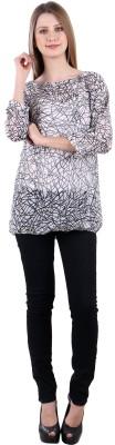Selfiwear Casual 3/4 Sleeve Printed Women's Grey Top