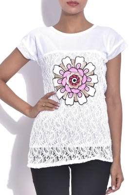 London Off Casual Short Sleeve Applique Women's White Top