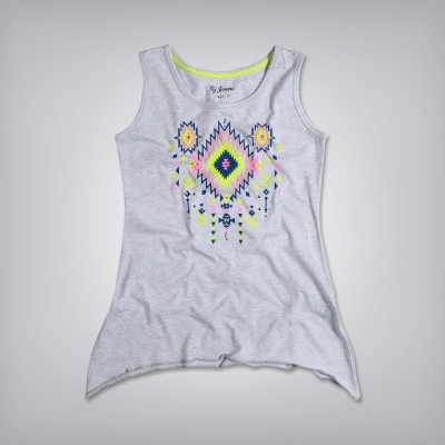 GJ Jeans Unltd Casual Sleeveless Printed Girl's Grey Top