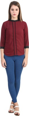 Glitterss Casual 3/4 Sleeve Solid Women,s Maroon, Black Top