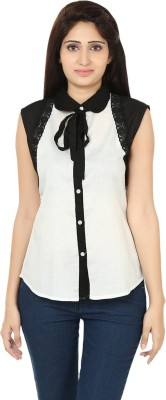 Ru-Ru Casual Sleeveless Solid Women's Black, White Top