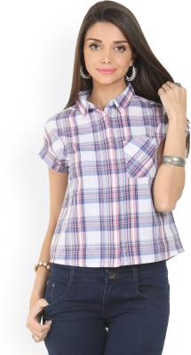 Max Casual Short Sleeve Checkered Women's Multicolor Top