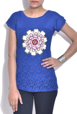 London Off Casual Short Sleeve Applique Women's Blue Top