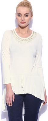 Noble Faith Casual Full Sleeve Solid Women's White Top