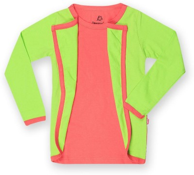 Dreamszone Casual Full Sleeve Solid Girl,s Green Top