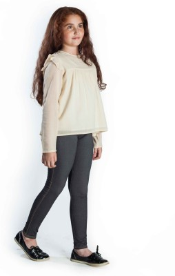 Miss Nightingale Casual, Party Full Sleeve Solid Girl's Beige Top