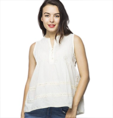 American Swan Casual Sleeveless Solid Women's White Top