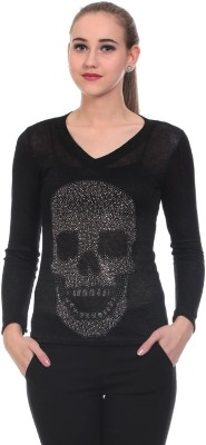 Wild Hawk Casual Full Sleeve Solid Women's Black Top