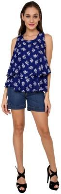 99Hunts Casual Sleeveless Printed Women's Blue Top
