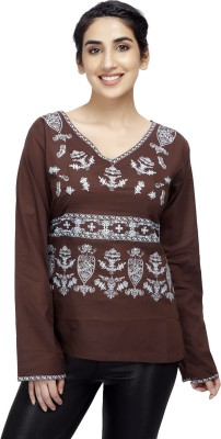 Cappadocia Casual Full Sleeve Embroidered Women's Brown Top