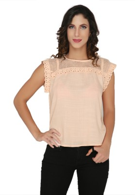 Philigree Casual Short Sleeve Solid Women,s Pink Top