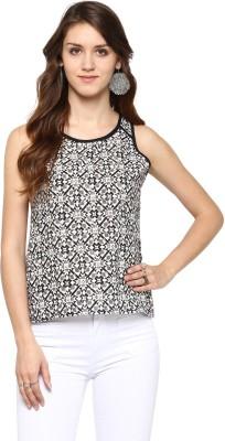 JaipurKurti Casual Sleeveless Geometric Print Women's Black Top