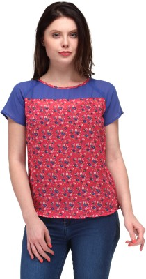 Motif Casual Short Sleeve Floral Print Women's Blue, Red Top
