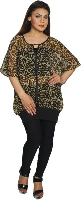 Fayona Casual 3/4 Sleeve Printed Women's Black Top