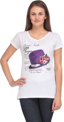 A A Store Casual Short Sleeve Solid, Printed Women's White Top