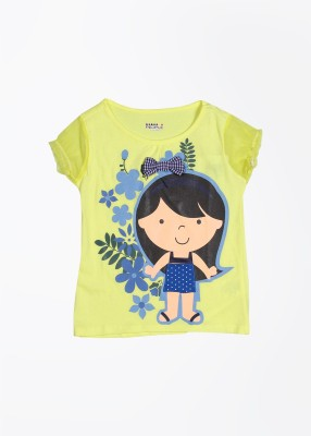 People Casual Short Sleeve Printed Girl's Yellow Top