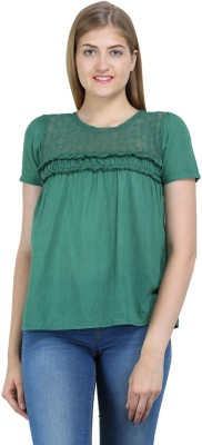 Bainy Casual Short Sleeve Solid Women,s Green Top