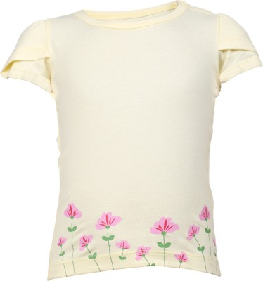 Lula Casual Short Sleeve Floral Print Baby Girl's Yellow Top