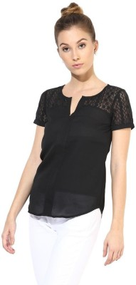The Vanca Formal Short Sleeve Self Design Women's Black Top at flipkart