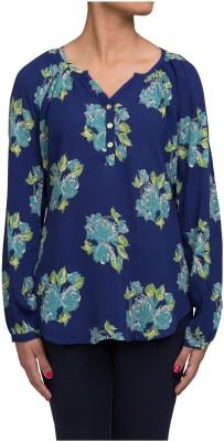 Ratan Jaipur Casual Full Sleeve Floral Print Women's Blue Top