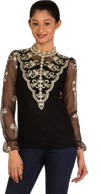 Modo Vivendi Casual Full Sleeve Floral Print Women's Black Top
