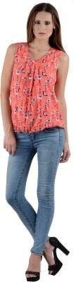 Firemark Casual Sleeveless Printed Women's Orange Top