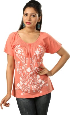 India Inc Casual Short Sleeve Printed Women's Orange Top