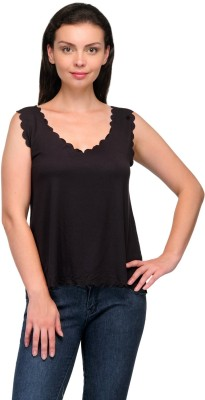 Zachi Casual Sleeveless Solid Women's Black Top