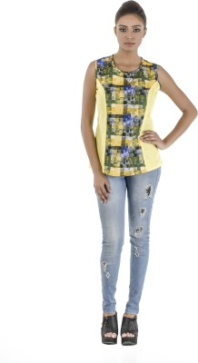 Vastra Valley Casual Sleeveless Printed, Solid Women's Yellow Top
