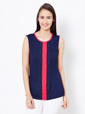 The Vanca Casual Sleeveless Solid Women's Blue Top