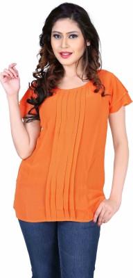Aasvaa Casual Sleeveless Solid Women's Orange Top