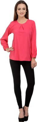 Rumara Casual Full Sleeve Solid Women's Pink Top