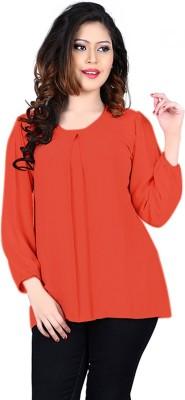 Eshantraders Casual 3/4 Sleeve Solid Women's Orange Top