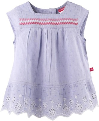 Fisher-Price Casual Short Sleeve Embroidered Girl's Purple Top