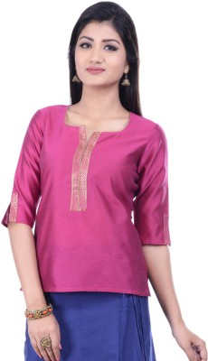 Rene Festive 3/4 Sleeve Solid Women's Pink Top