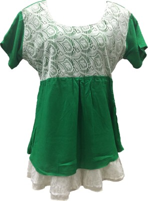 Dovekie Casual Short Sleeve Self Design Women's Green Top