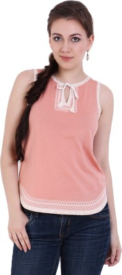 Rat Trap Casual Sleeveless Embroidered Women's Pink Top
