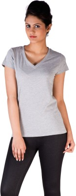 De Moza Casual Short Sleeve Solid Women's Grey Top