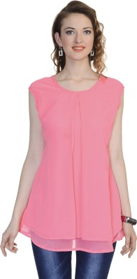 Urbane Woman Casual Sleeveless Solid Women's Pink Top