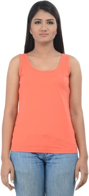 TeesTadka Casual Sleeveless Solid Women,s Pink Top